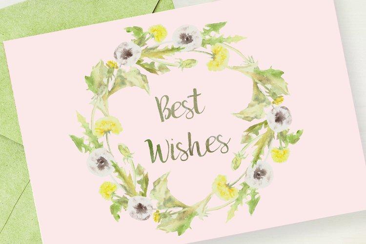 Watercolor Dandelion Clip Art, Wreath and Pattern