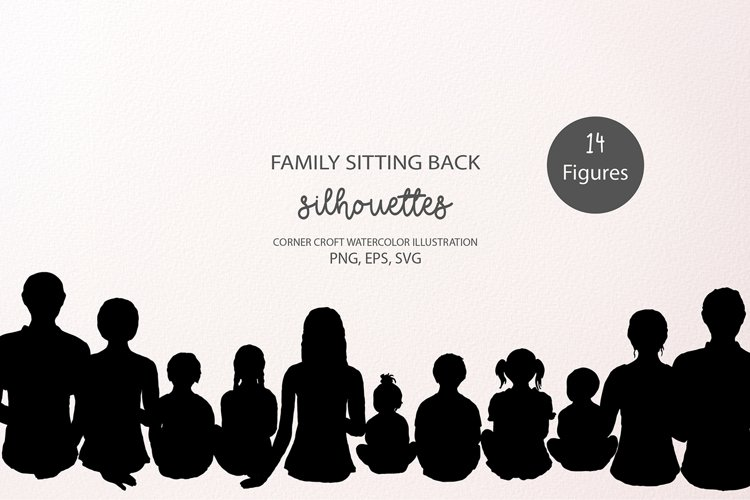Family Sitting Back Silhouettes PNG, EPS, SVG