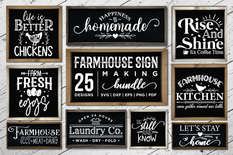 Farmhouse Sign Making Bundle SVG, 25 Farmhouse Sign SVGs example image 1