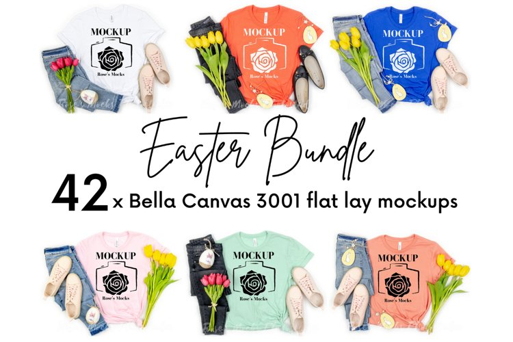 Bella Canvas 3001 Mockup Bundle - Tshirt Mockup Bundle