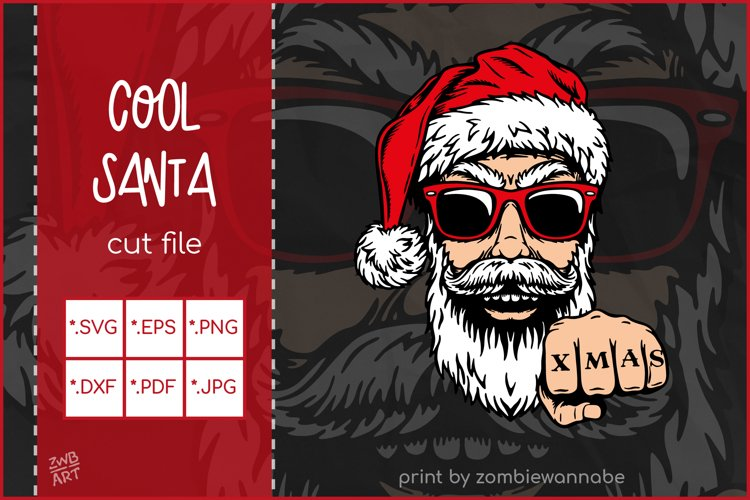 Christmas SVG, Cool Santa SVG,Biker Christmas T-shirt Design