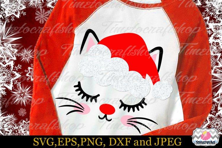 Christmas Kitty Eyelashes Santa hat, Christmas Cat Ornament example image 1