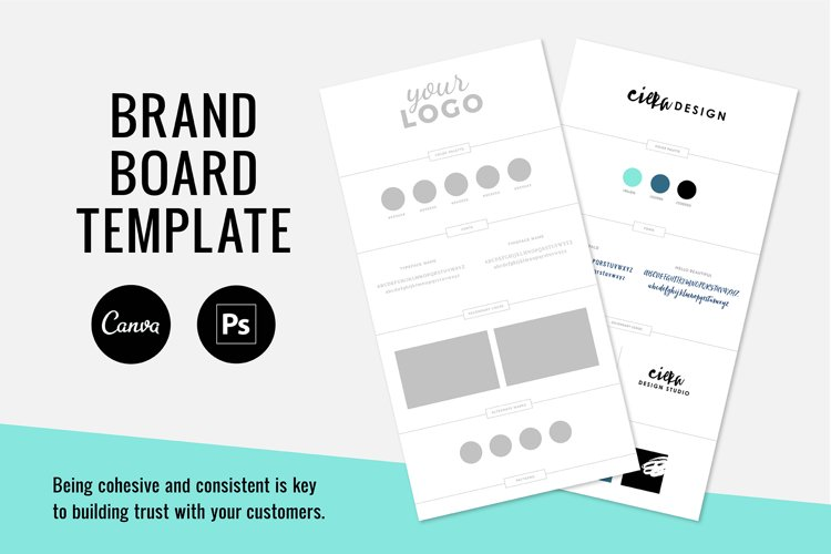 Brand Board Template / Canva & PSD
