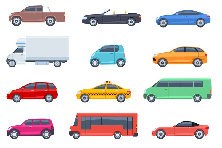 Flat cars set. Taxi and minivan, cabriolet and pickup. Bus a example image 1