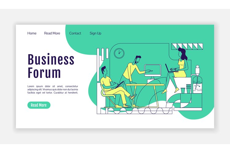 Business forum landing page flat silhouette vector template example image 1