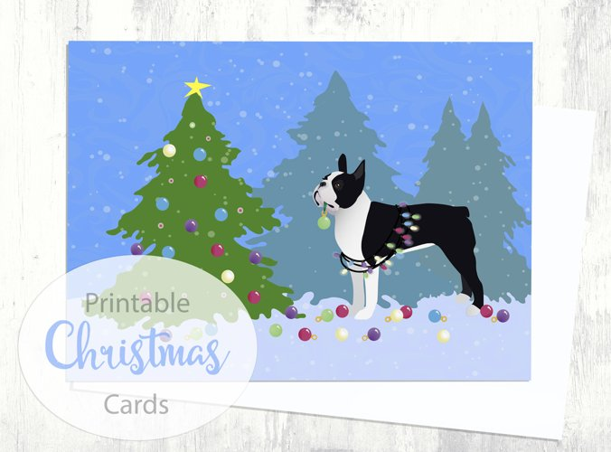 Black Boston Terrier Christmas Card - Christmas Forest - Digital Download Printable example image 1