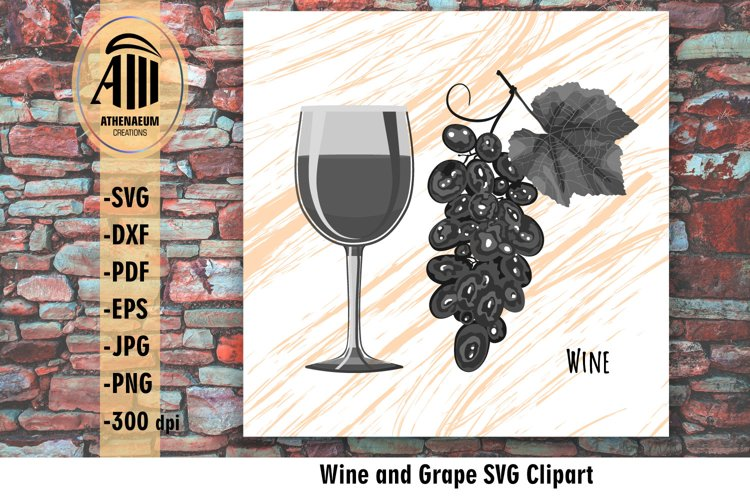 Wine Glass SVG. Wine Grapes sublimation. Wine clipart.