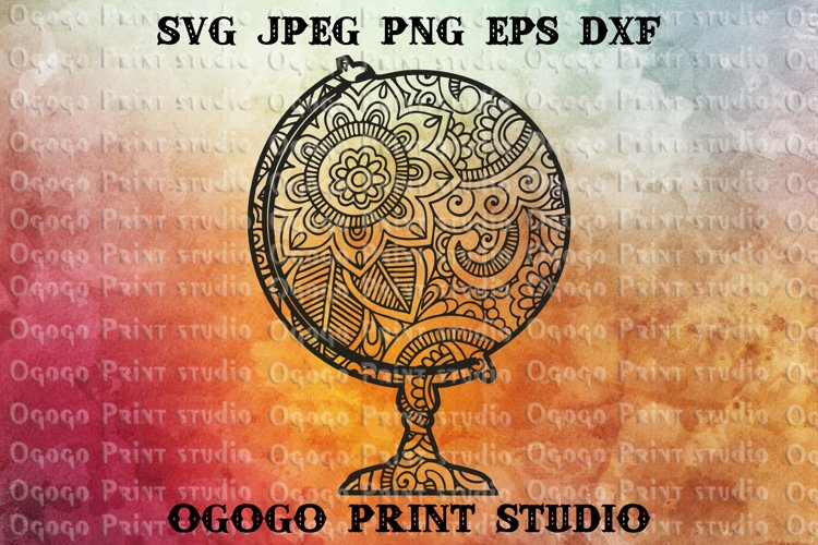 World Globe Svg, Planet Earth SVG, Zentangle SVG, Mandala