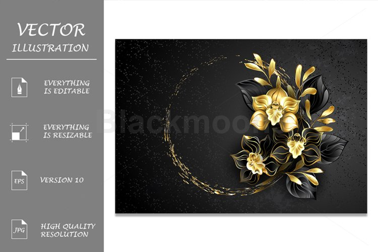 Black Jewelry Orchid with Gold Paint example image 1