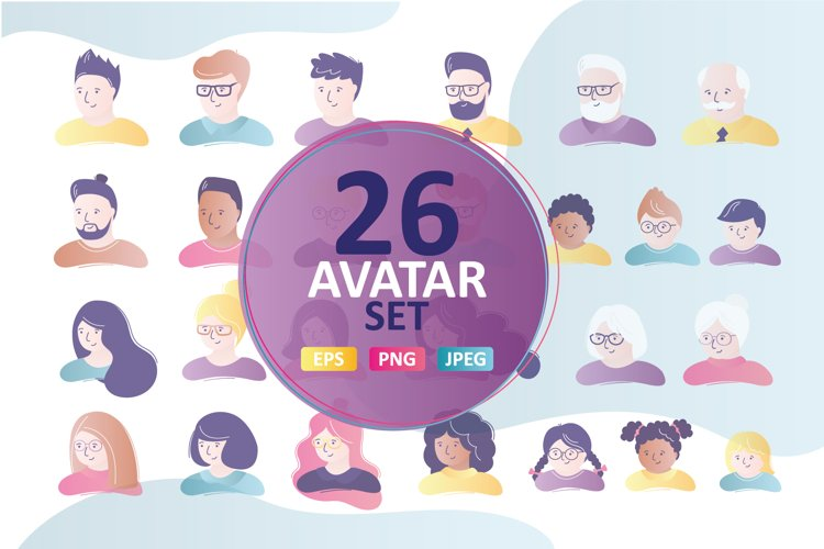 Set of avatars, people faces