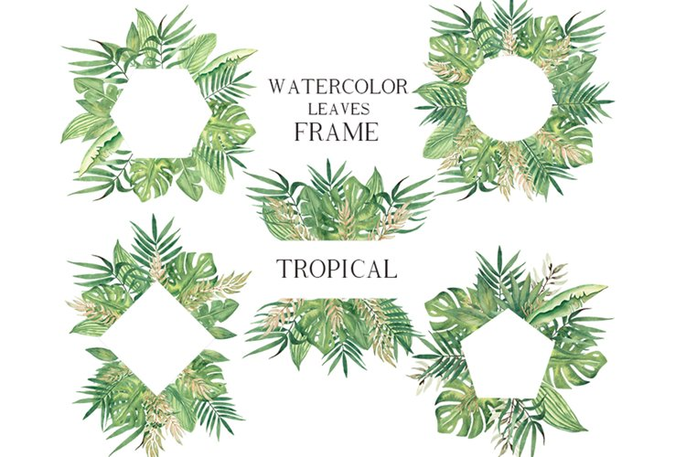 Watercolor Tropical leaves Frames Set example image 1