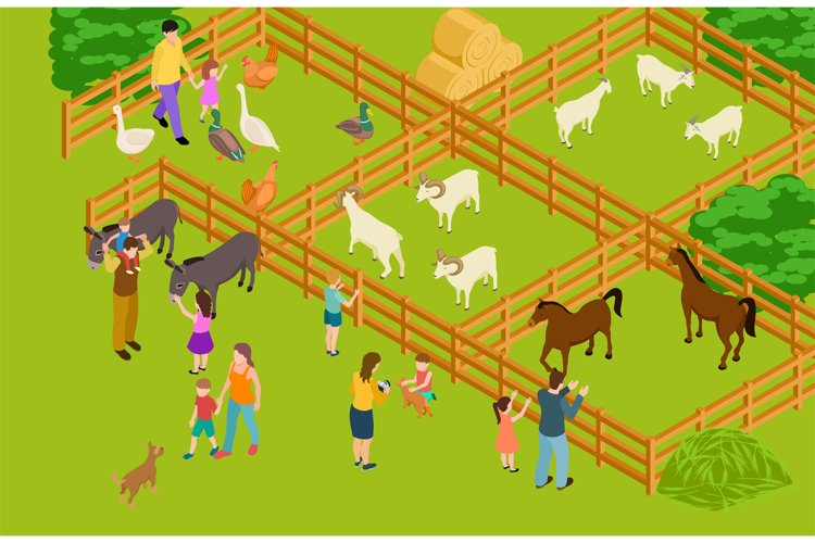 Farm animals zoo. Isometric vector livestock and people char example image 1