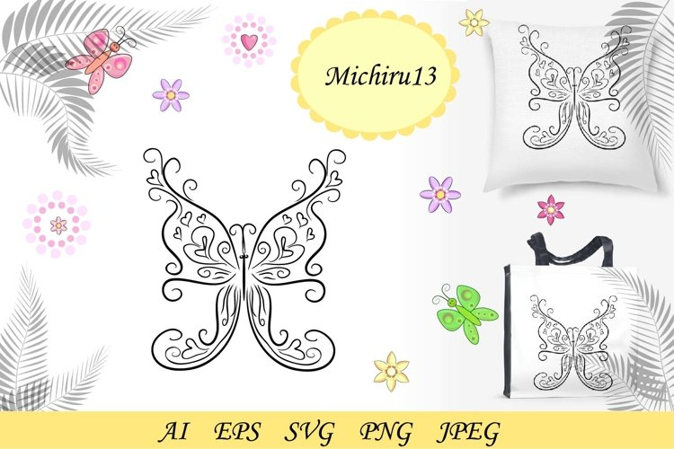 Graphic icon of butterfly. Butterfly tattoo example image 1