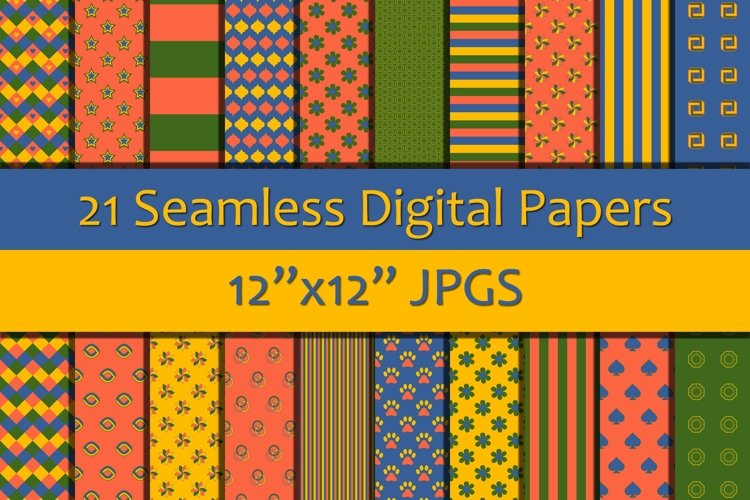 Shades of Pink/Yellow/Blue/Green Seamless Digital Papers example image 1