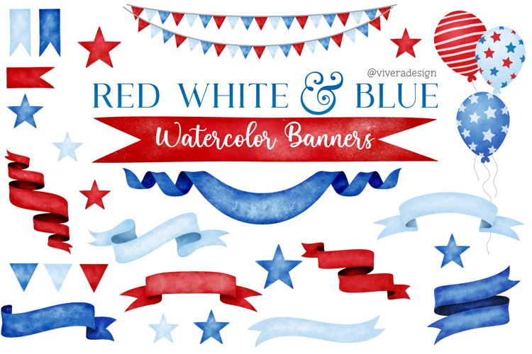 Red White Blue Watercolor Banners Ribbons Clip Art