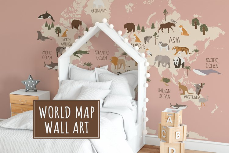World Map with animals example image 1