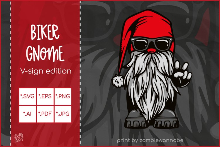 Cool Biker Gnome, Peace Hand Sign, Gnome SVG for Crafters