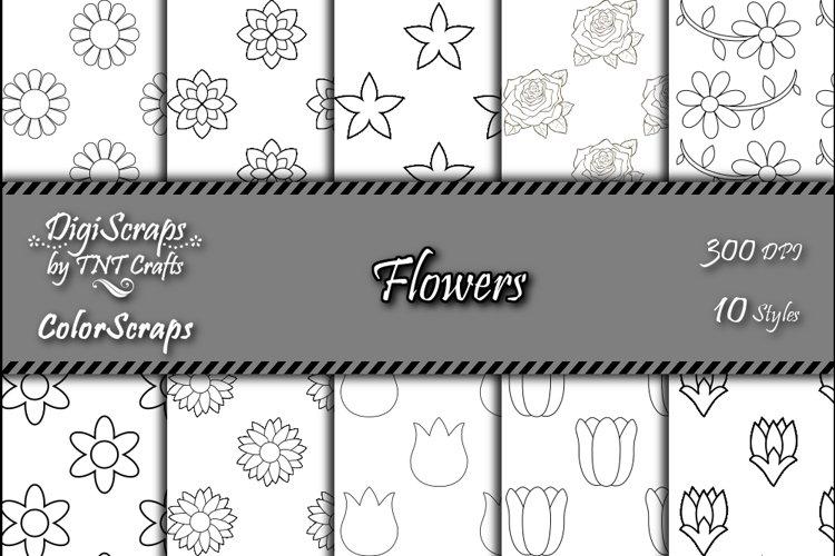 ColorScraps Flowers Digital Coloring Scrapbook Paper Pack