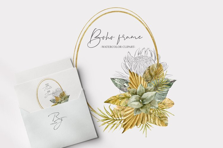 Watercolor floral gold frame clipart. Wedding monogram frame