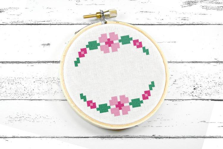 Faux Cross Stitch Floral Border Machine Embroidery Design