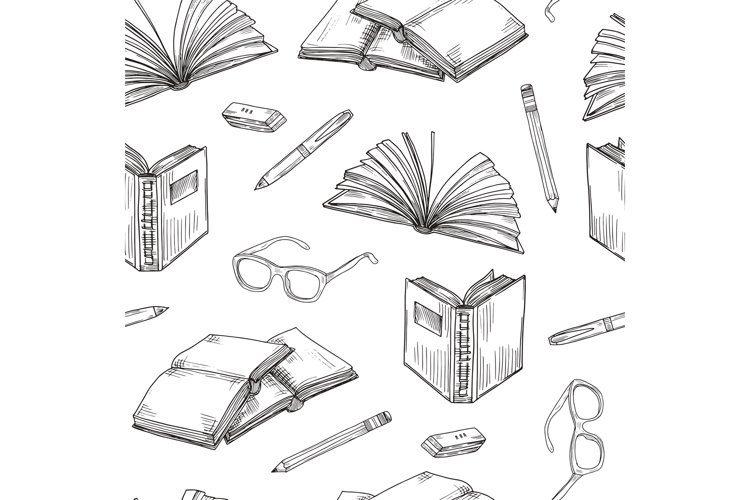 Sketch books seamless pattern. Ebooks reading and writing, s example image 1