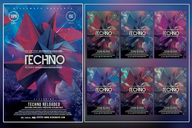 Electro Reloaded Photoshop Flyer Template example image 1