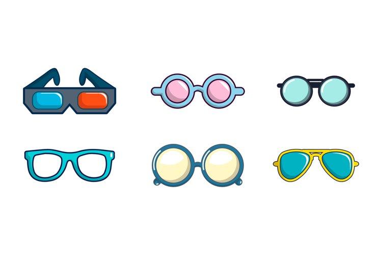 Glasses icon set, cartoon style example image 1
