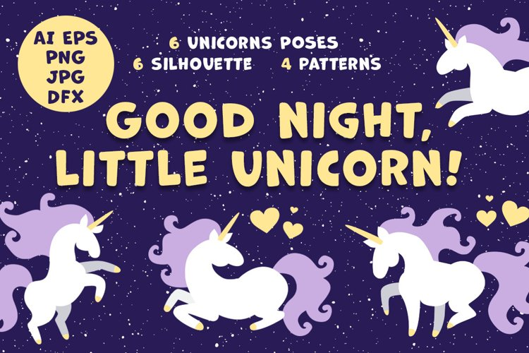 Good night little unicorn vector collection example image 1