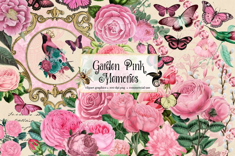 Garden Pink Memories Clipart 556350 Illustrations Design Bundles