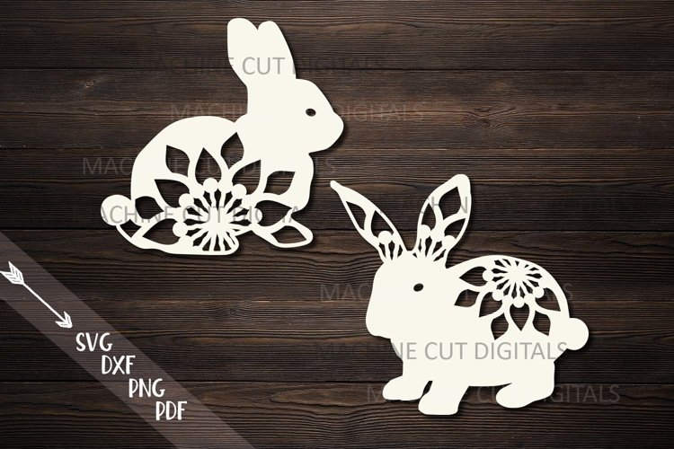 Floral Easter Bunnies set paper cut laser cut svg dxf files example image 1