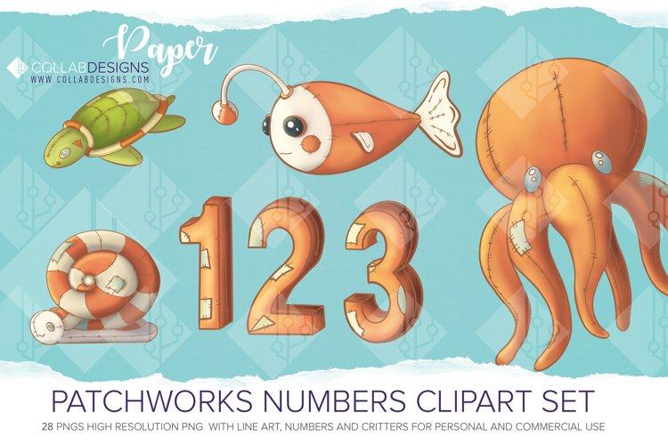 Ocean & Numbers Patch Work Clipart Line Art PNGs