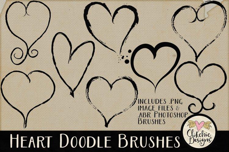 Heart Doodle Photoshop Brushes example image 1