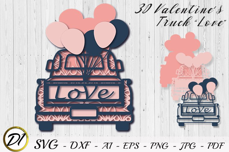 3D Layered truck SVG. Valentine Cut File. Multilayer truck