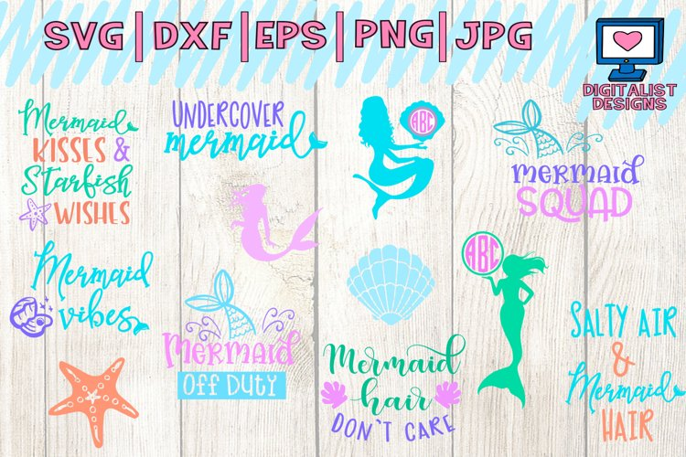 mermaid svg, mermaid party, mermaid tail svg, mermaid silhouette, svg files for cricut, mermaid decor, summer svg, monogram svg example image 1