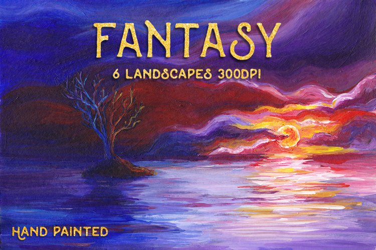 6 Fantasy Landscape Art Bundle - Hand Painted Illustrations