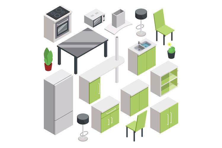 3d room design. Vector isometric furniture set for kitchen example image 1
