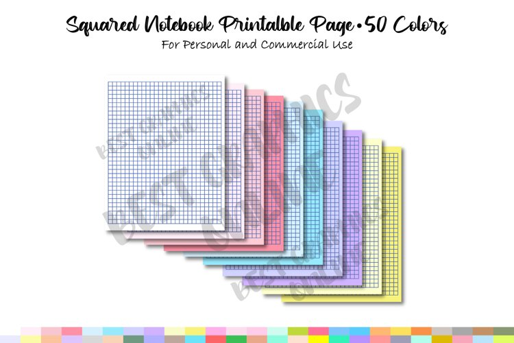 School Digital Papers, Graph Paper Journal, Squared Notebook
