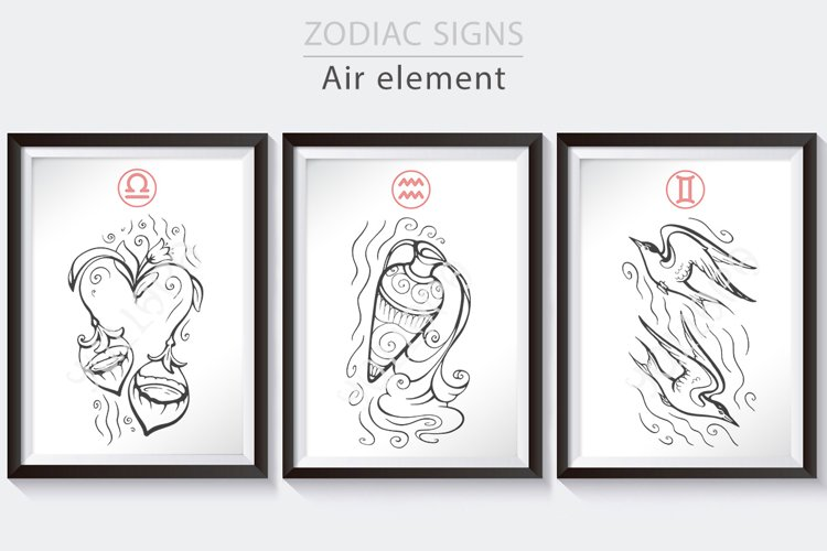 Zodiac signs collection, Air, horoscope vector graphics example image 1