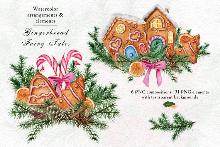 Christmas watercolor gingerbread clipart, PNG elements