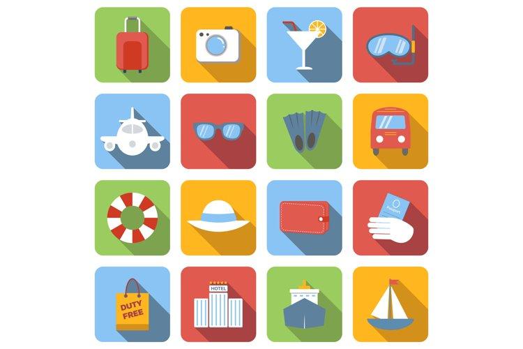 Travel flat icons set example image 1