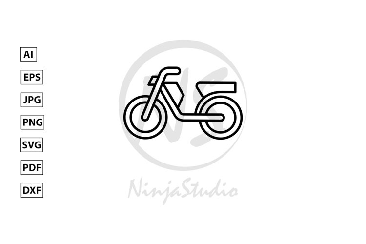 Motorcycle Line Icon In Flat Style Vector example image 1