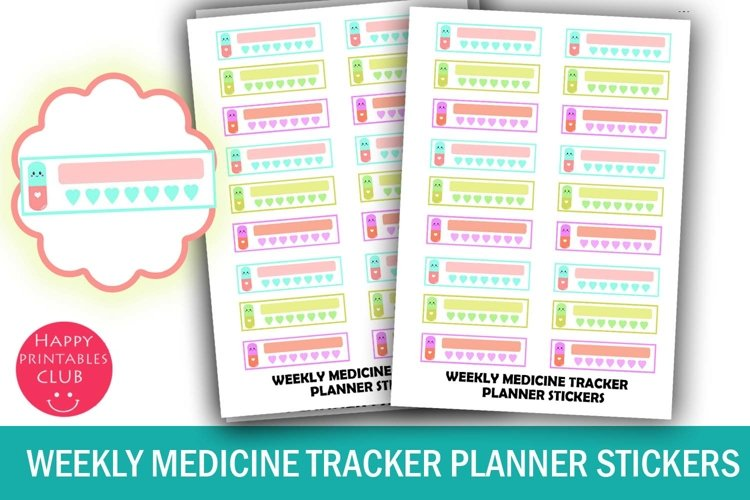 Weekly Medicine Tracker Planner Stickers- Health Planner example image 1
