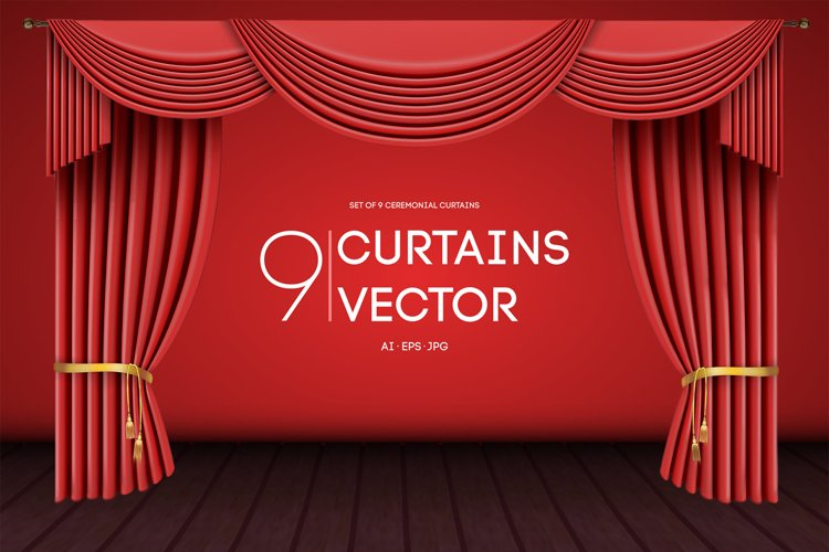 9 Vector Curtains Backgrounds