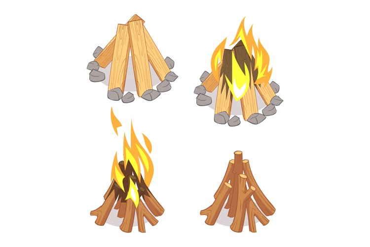 Cartoon character wooden logs and campfire isolated on white example image 1