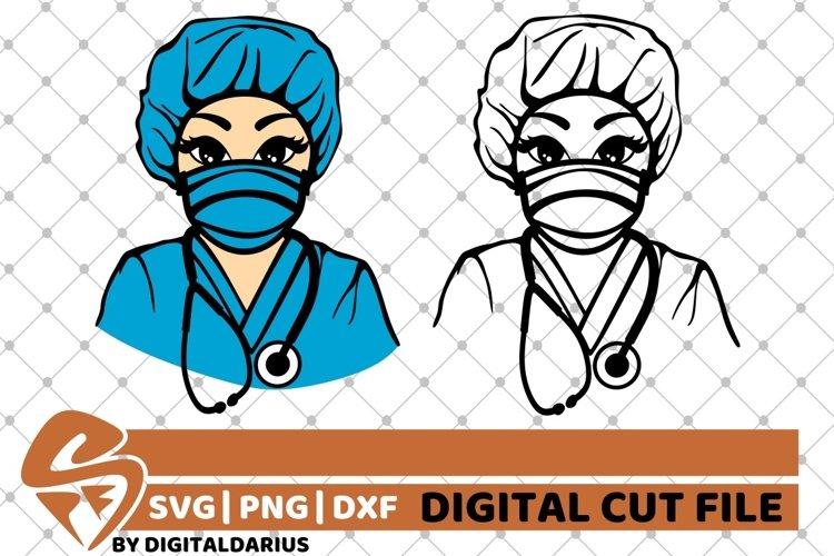 2x Black Nurse Bundle svg, Nurse Stethoscope svg, Surgeon example image 1