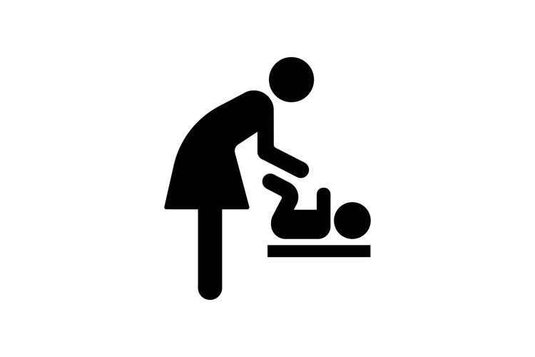 Mother change a diaper for child icon. Restroom example image 1
