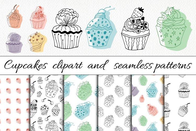 Cupcake Clipart   Patterns - Food Line Art Illustrations
