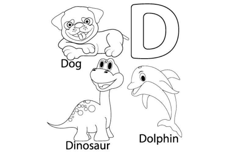 Coloring sheet from letter D for kids example image 1