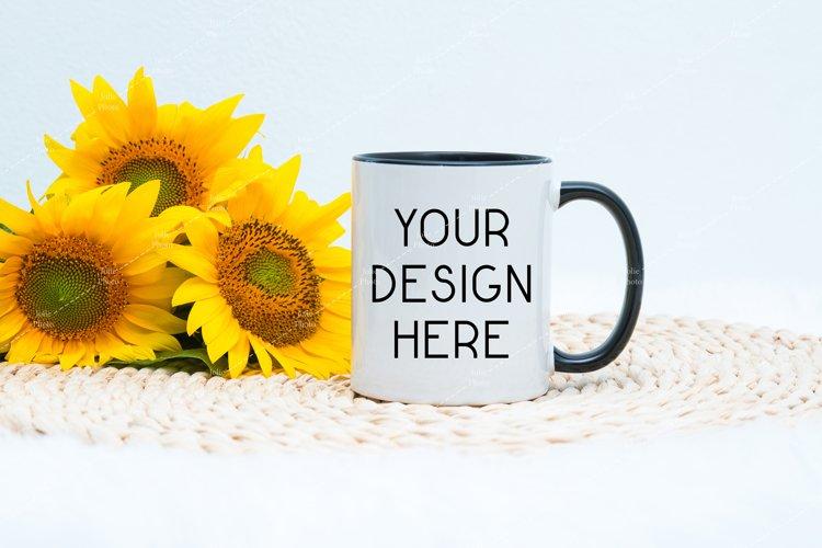 11 Oz Blank White Coffee Cup With Black Handle Mug Mockup example image 1