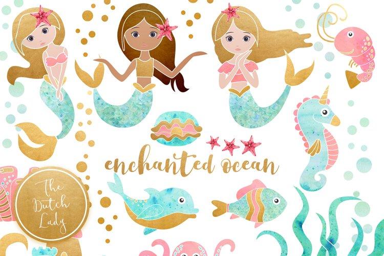 Enchanted Mermaid Ocean Clipart Set example image 1